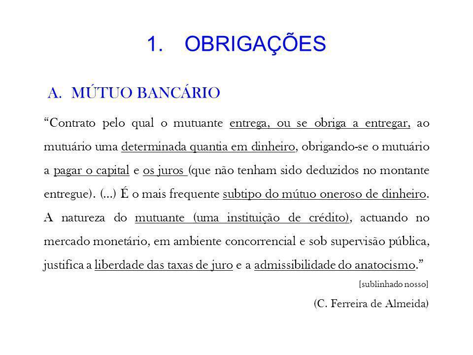 OBRIGAÇÕES MÚTUO BANCÁRIO