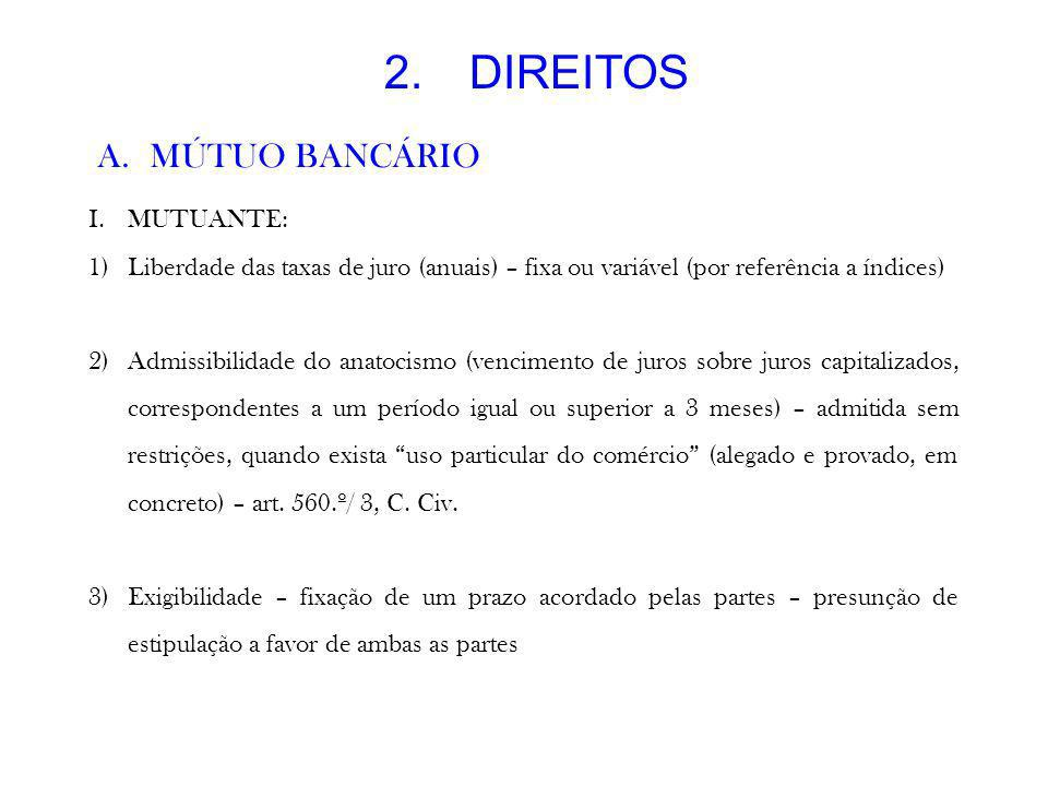 DIREITOS MÚTUO BANCÁRIO MUTUANTE: