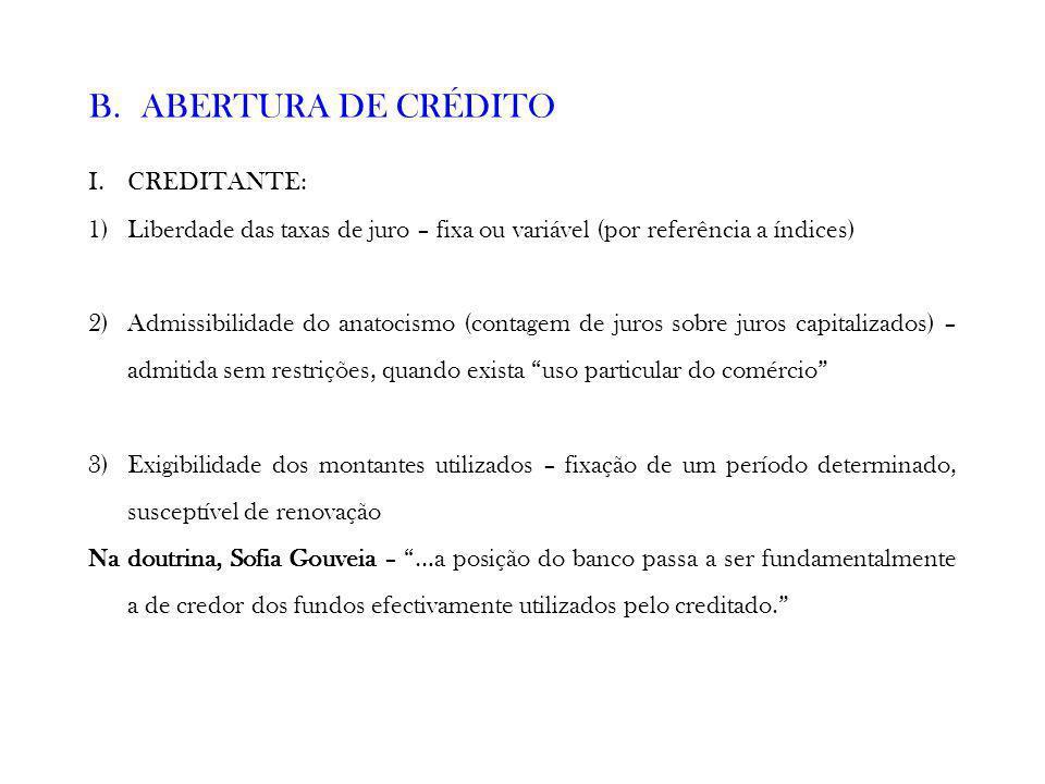 ABERTURA DE CRÉDITO CREDITANTE: