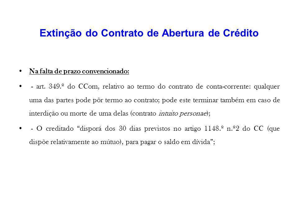 Extinção do Contrato de Abertura de Crédito
