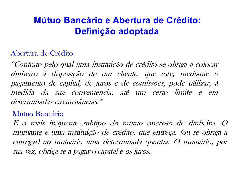Mútuo Bancário e Abertura de Crédito: Definição adoptada