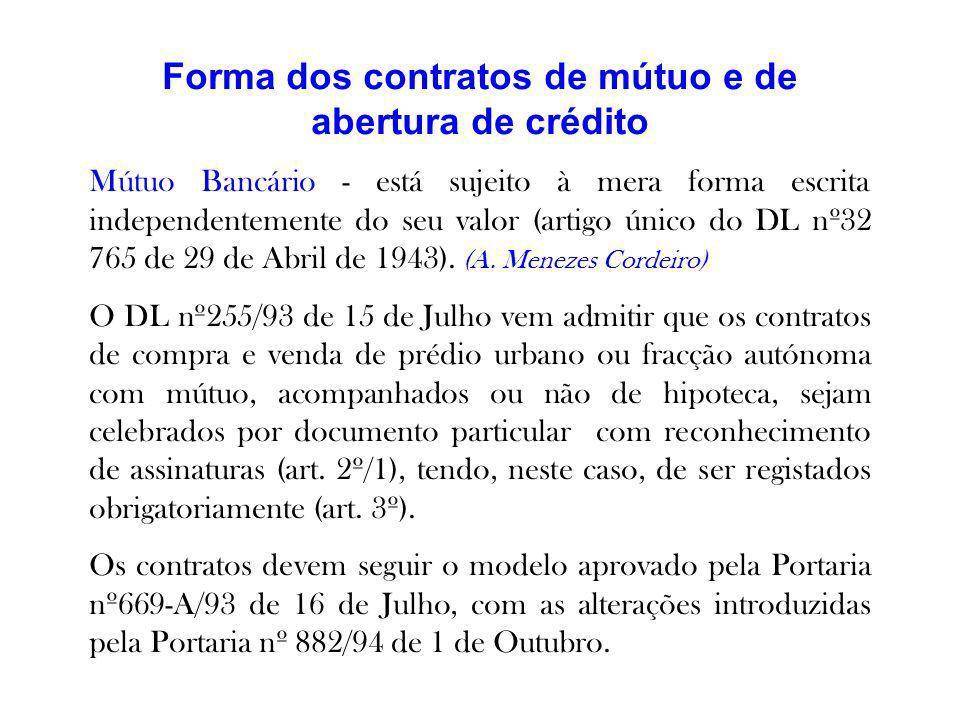 Forma dos contratos de mútuo e de abertura de crédito