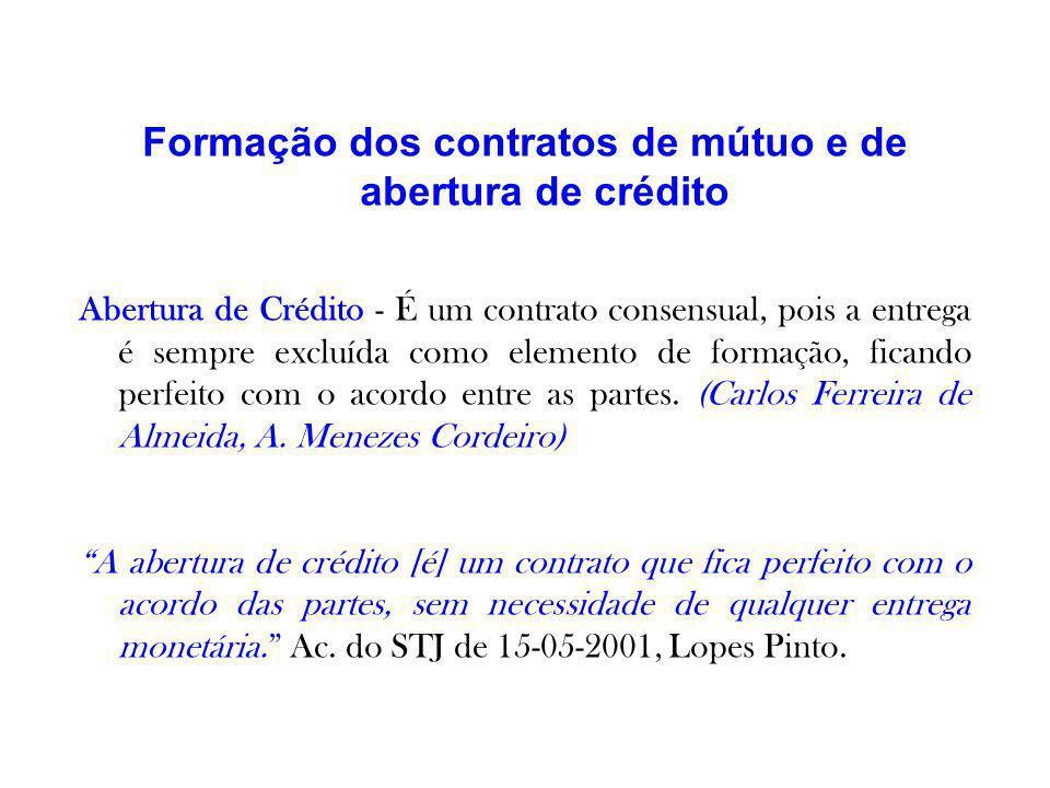 Formação dos contratos de mútuo e de abertura de crédito
