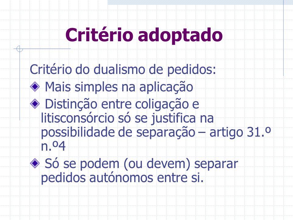 Critério adoptado Critério do dualismo de pedidos: