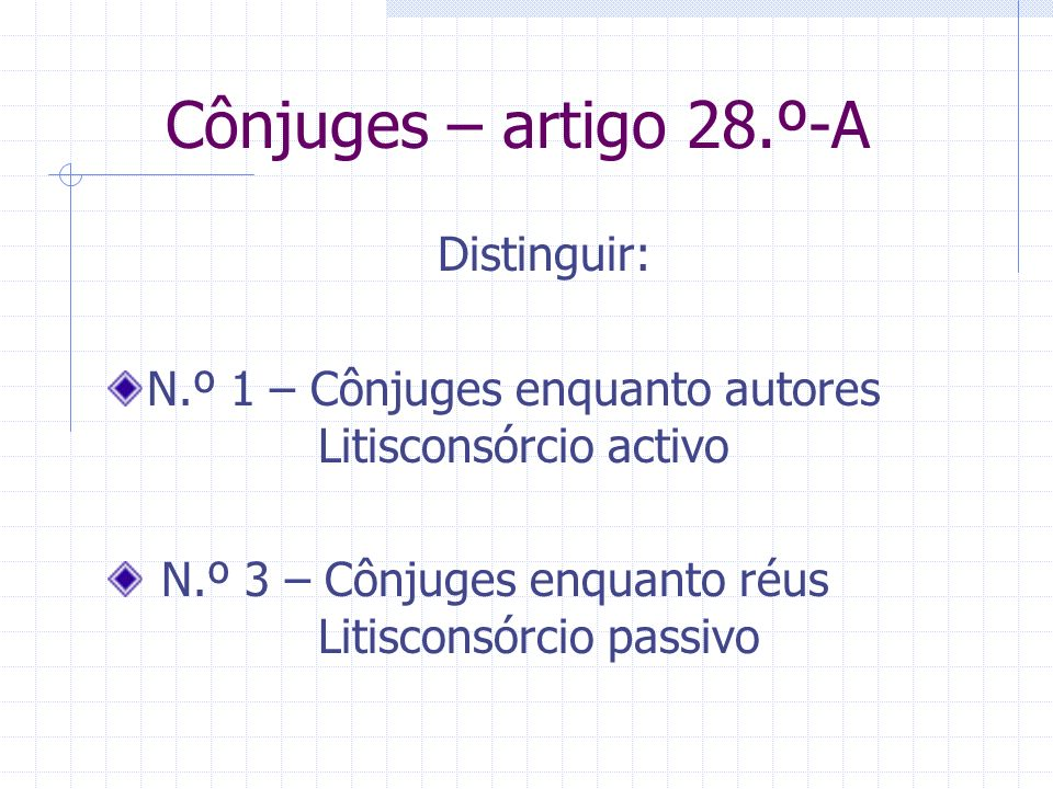 Cônjuges – artigo 28.º-A Distinguir: