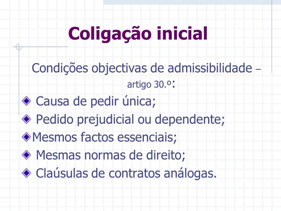 Condições objectivas de admissibilidade – artigo 30.º: