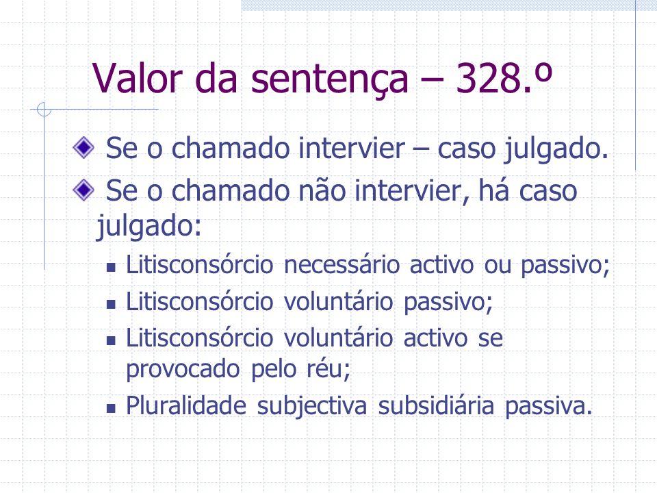 Valor da sentença – 328.º Se o chamado intervier – caso julgado.