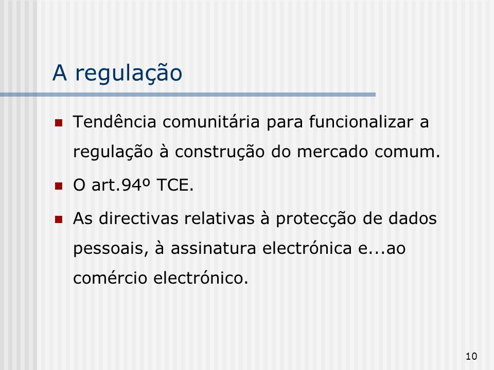 A regulaçãoTendência comunitária para funcionalizar a regulação à construção do mercado comum. O art.94º TCE.
