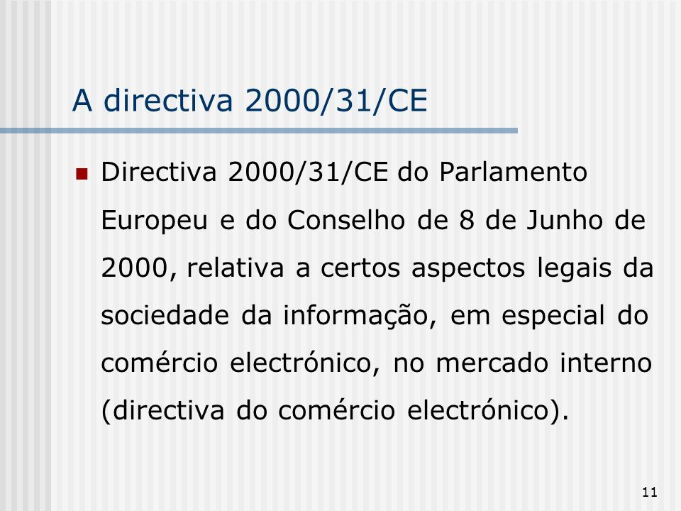 A directiva 2000/31/CE
