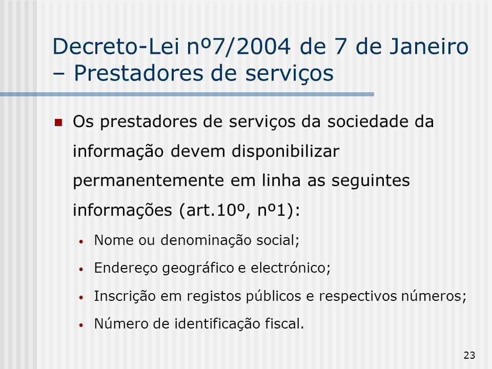 Decreto-Lei nº7/2004 de 7 de Janeiro – Prestadores de serviços