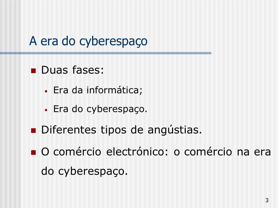 A era do cyberespaço Duas fases: Diferentes tipos de angústias.