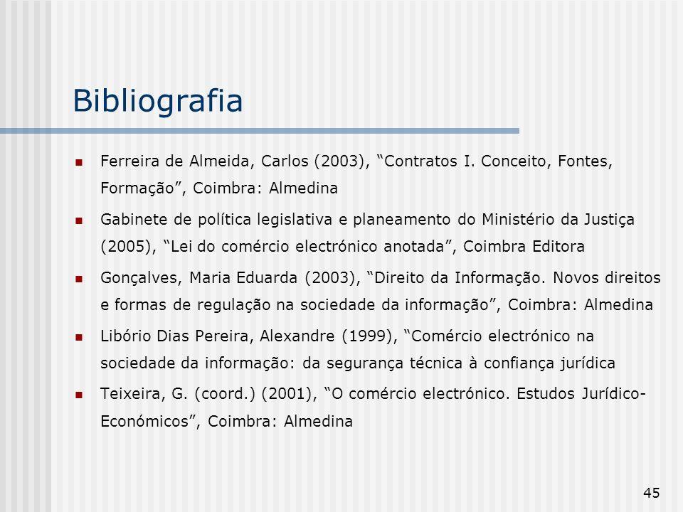 BibliografiaFerreira de Almeida, Carlos (2003), Contratos I. Conceito, Fontes, Formação , Coimbra: Almedina.