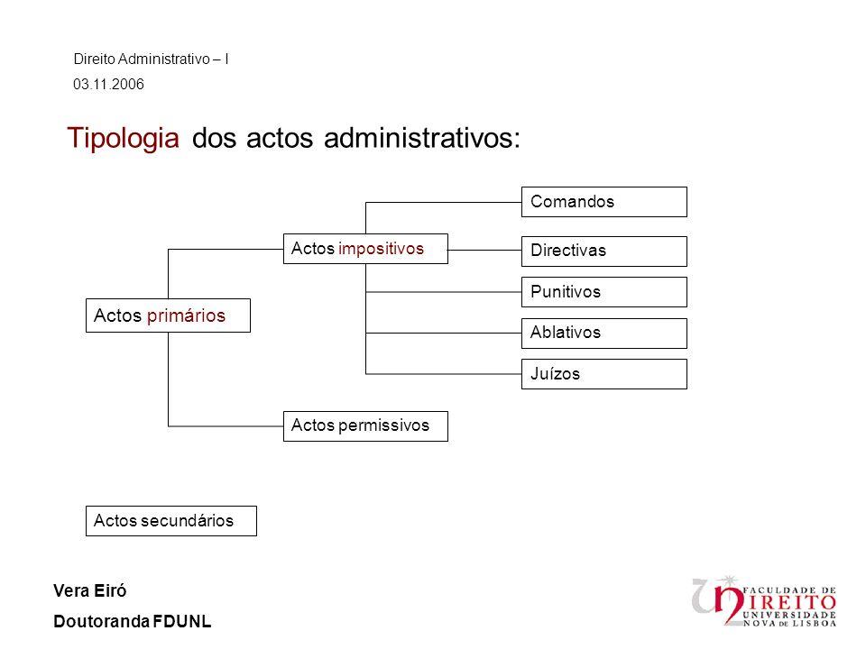 Tipologia dos actos administrativos: