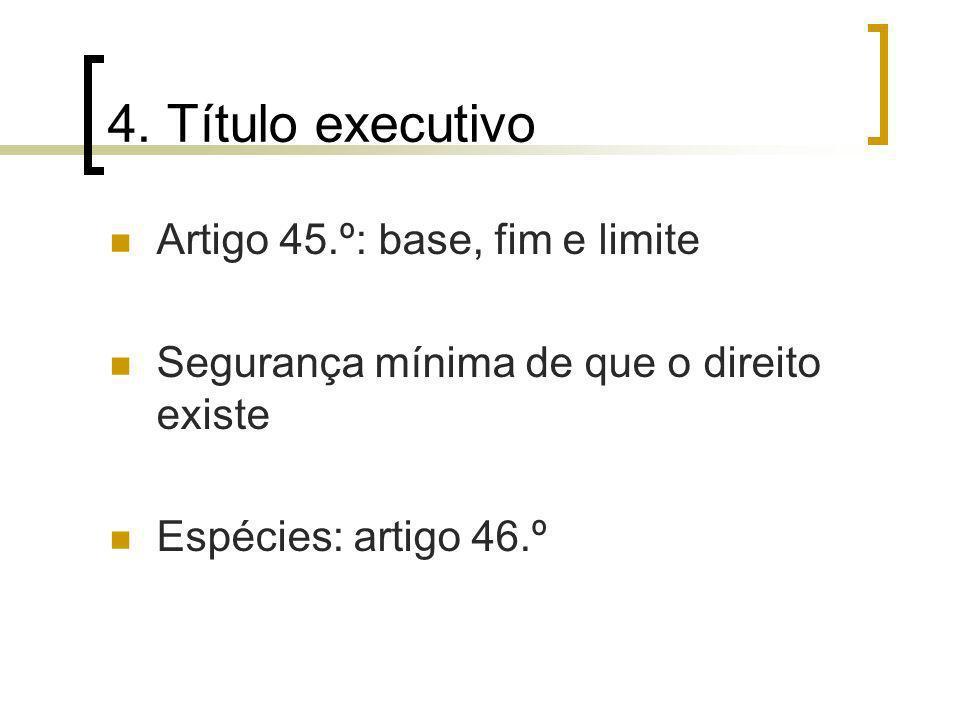 4. Título executivo Artigo 45.º: base, fim e limite