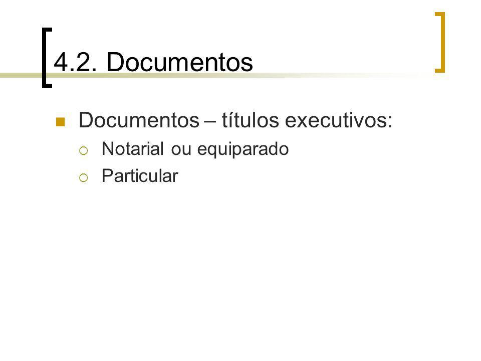 4.2. Documentos Documentos – títulos executivos: