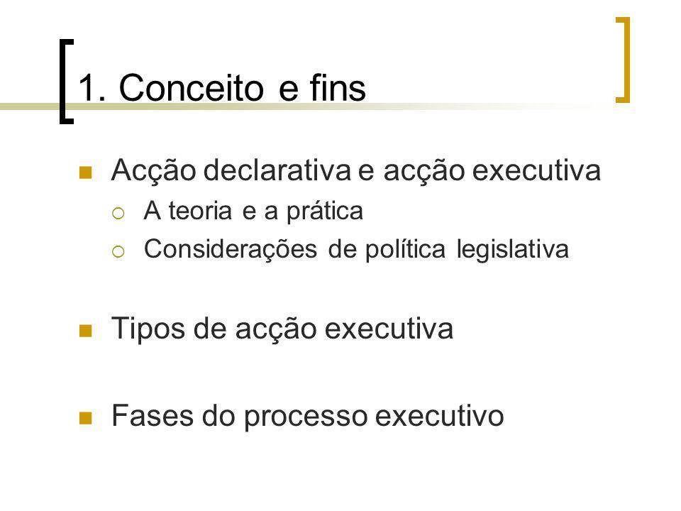 1. Conceito e fins Acção declarativa e acção executiva