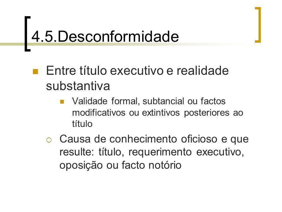 4.5.Desconformidade Entre título executivo e realidade substantiva