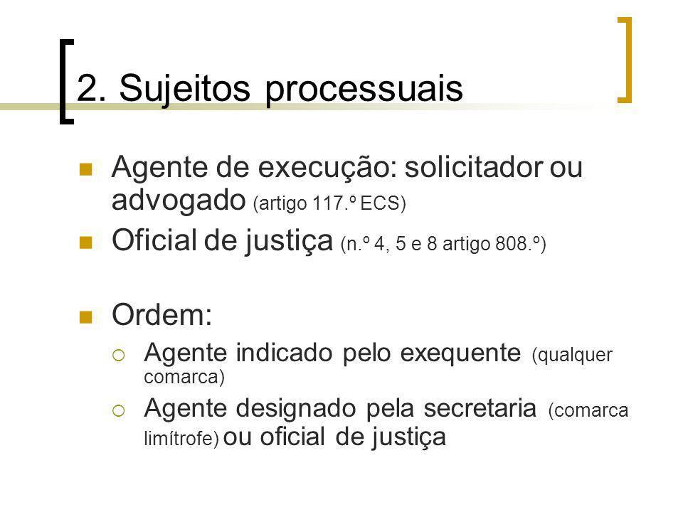 2. Sujeitos processuais Agente de execução: solicitador ou advogado (artigo 117.º ECS) Oficial de justiça (n.º 4, 5 e 8 artigo 808.º)