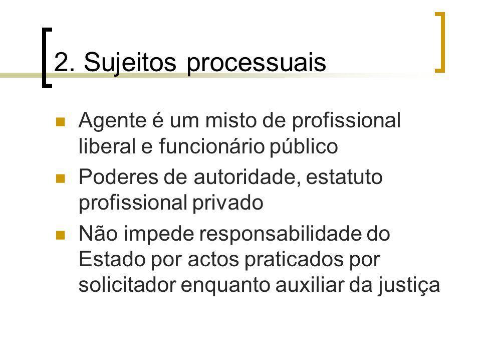 2. Sujeitos processuais Agente é um misto de profissional liberal e funcionário público. Poderes de autoridade, estatuto profissional privado.