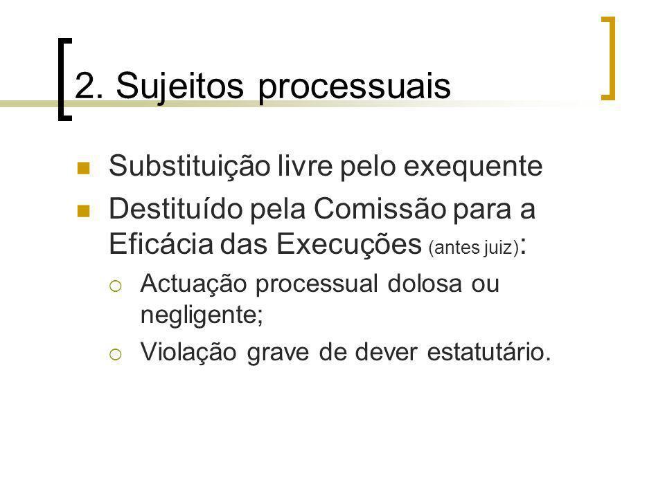 2. Sujeitos processuais Substituição livre pelo exequente