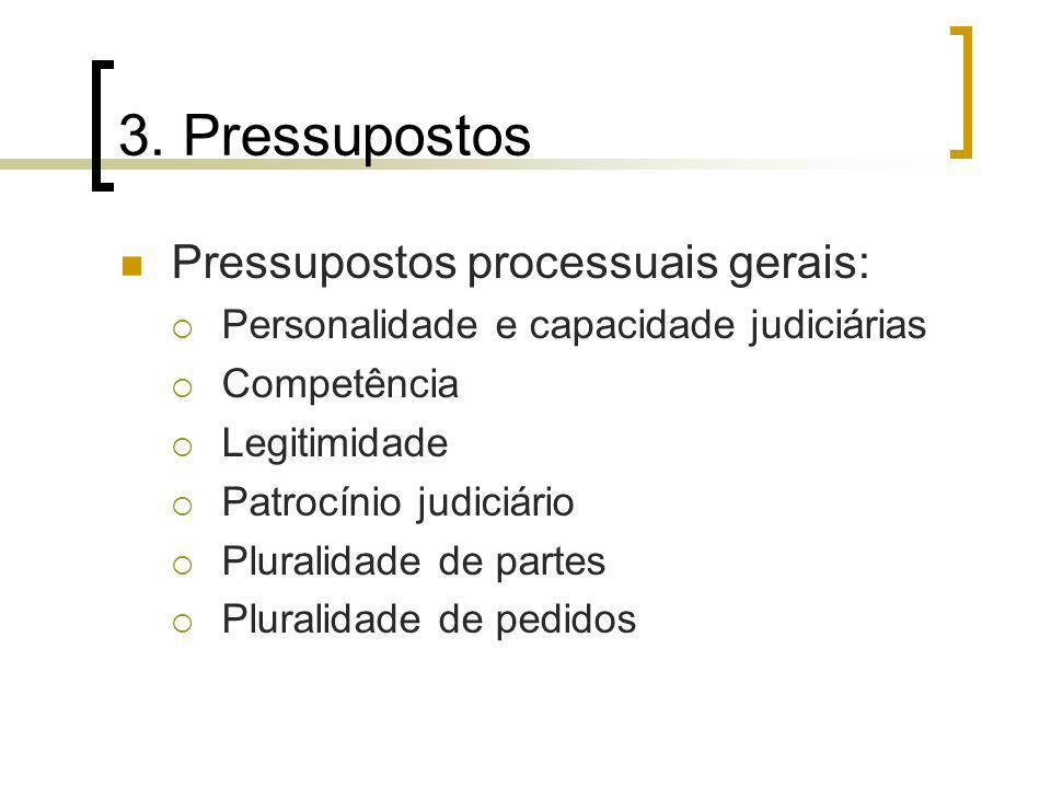 3. Pressupostos Pressupostos processuais gerais:
