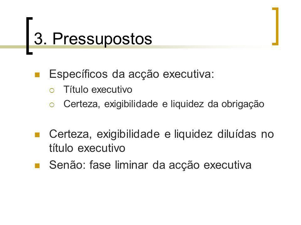 3. Pressupostos Específicos da acção executiva: