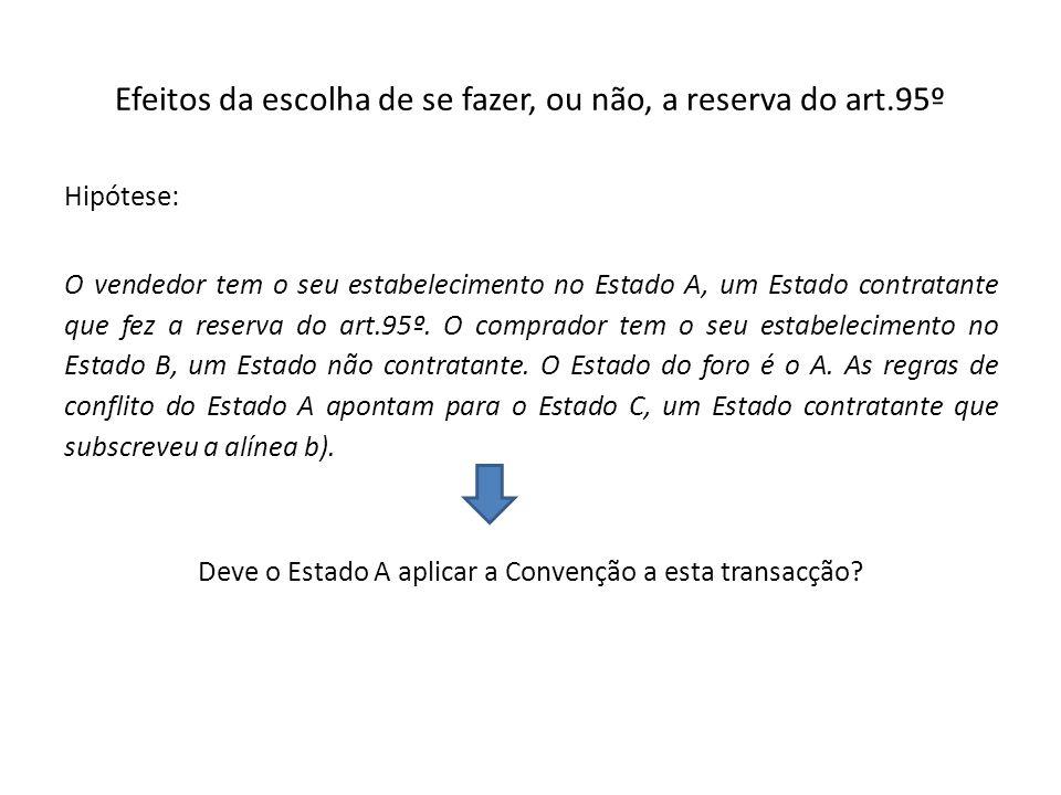 Efeitos da escolha de se fazer, ou não, a reserva do art.95º