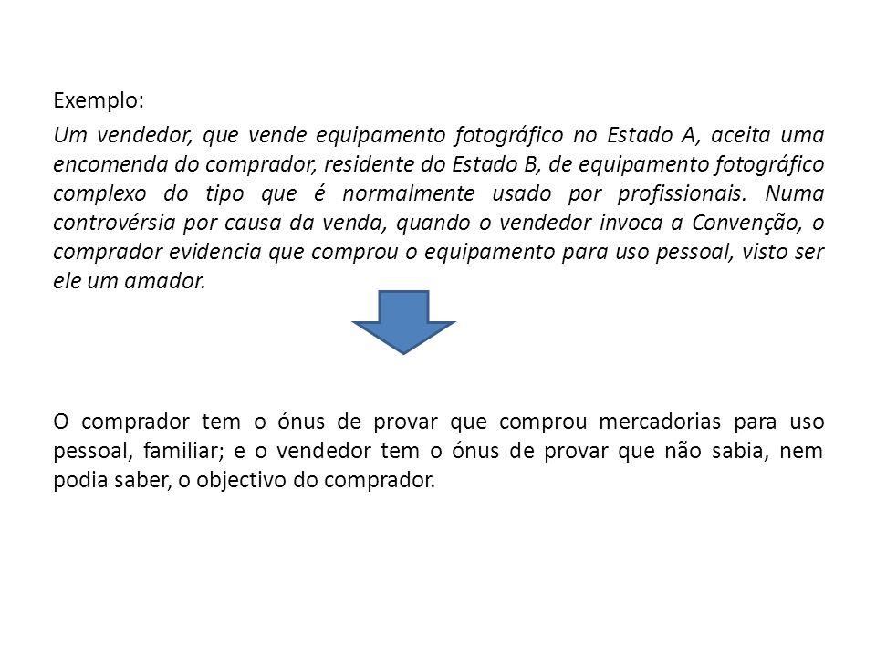 Exemplo: Um vendedor, que vende equipamento fotográfico no Estado A, aceita uma encomenda do comprador, residente do Estado B, de equipamento fotográfico complexo do tipo que é normalmente usado por profissionais.
