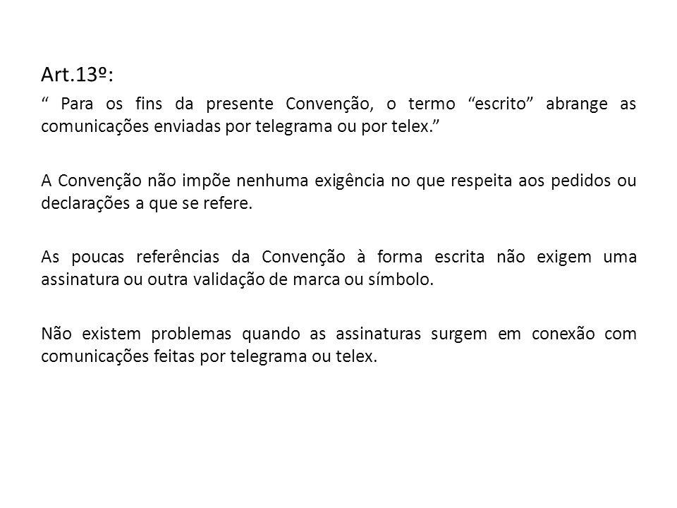 Art.13º: Para os fins da presente Convenção, o termo escrito abrange as comunicações enviadas por telegrama ou por telex.