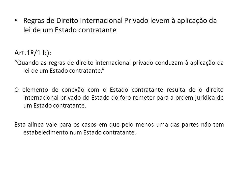 Regras de Direito Internacional Privado levem à aplicação da lei de um Estado contratante