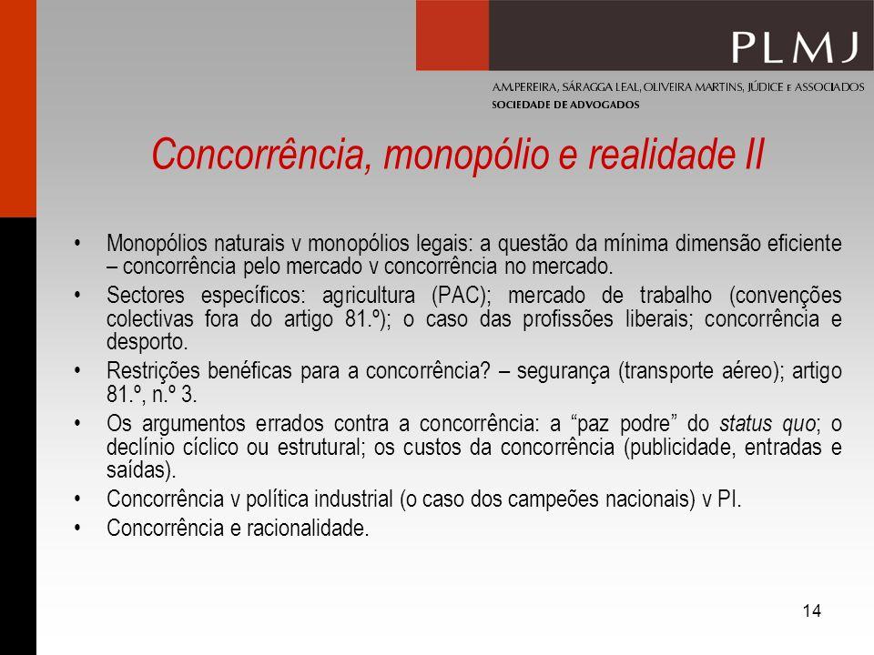Concorrência, monopólio e realidade II