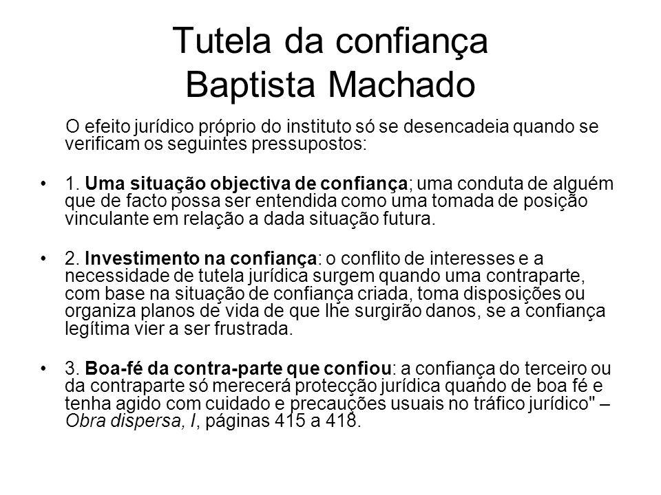 Tutela da confiança Baptista Machado