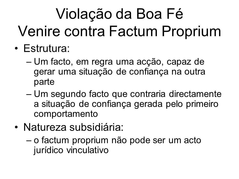 Violação da Boa Fé Venire contra Factum Proprium