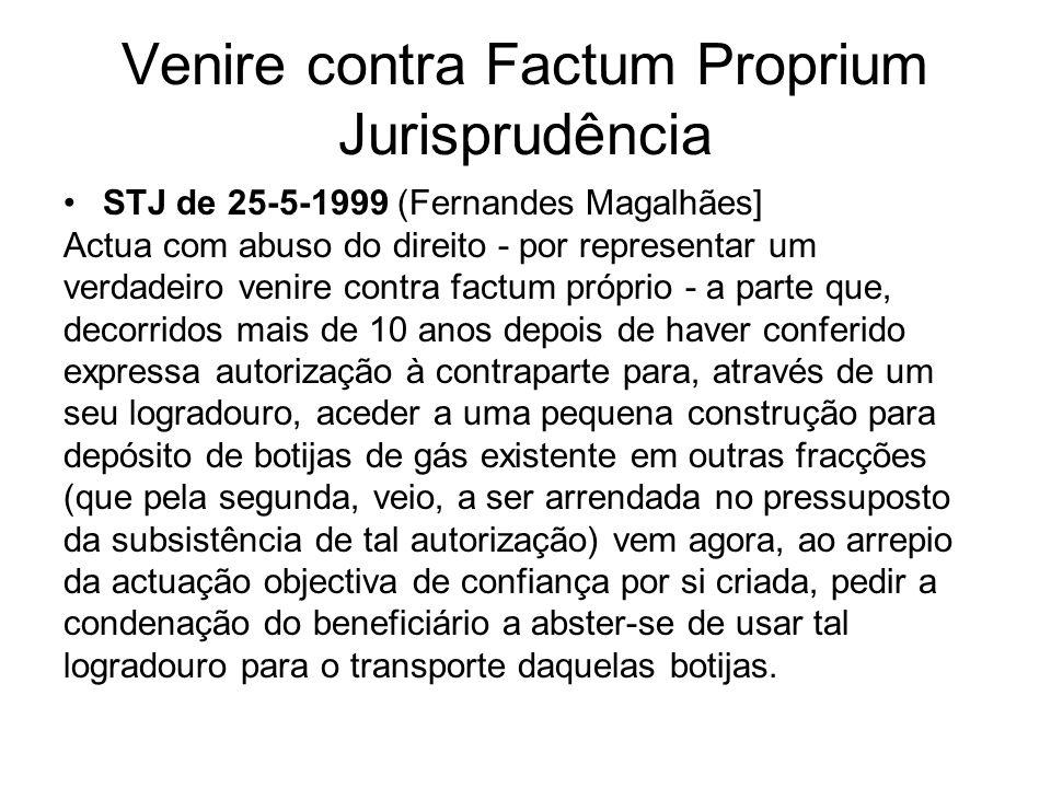 Venire contra Factum Proprium Jurisprudência