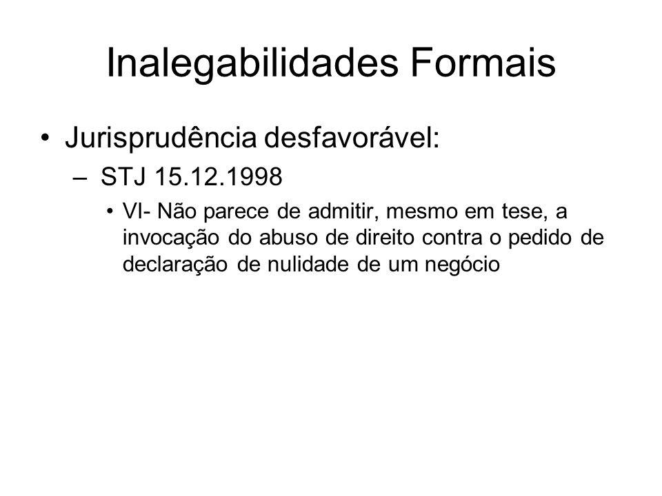 Inalegabilidades Formais