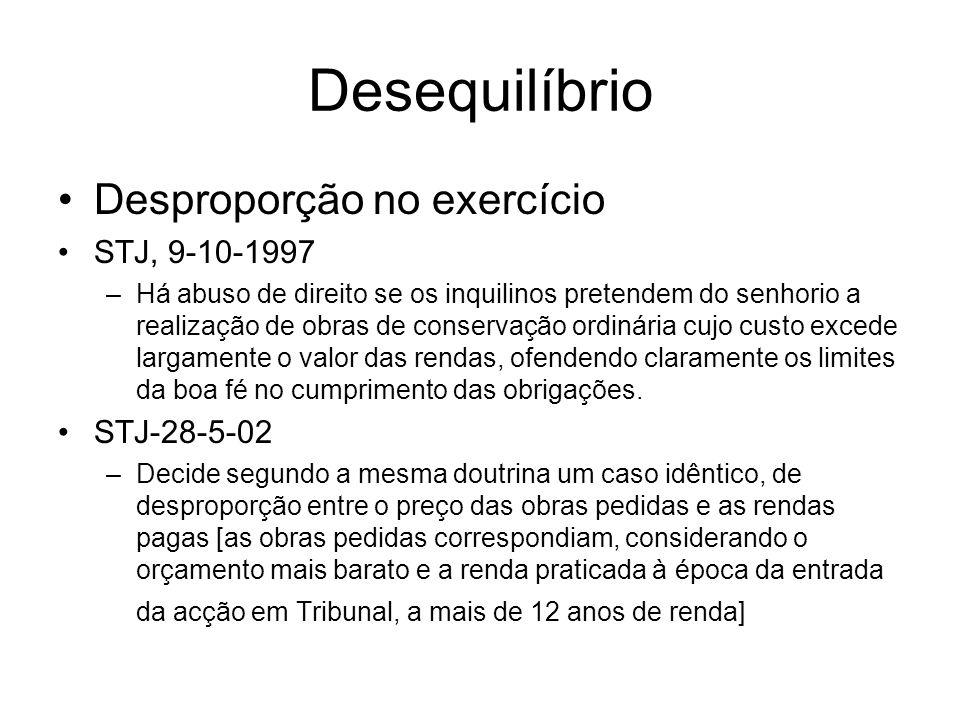 Desequilíbrio Desproporção no exercício STJ, 9-10-1997 STJ-28-5-02