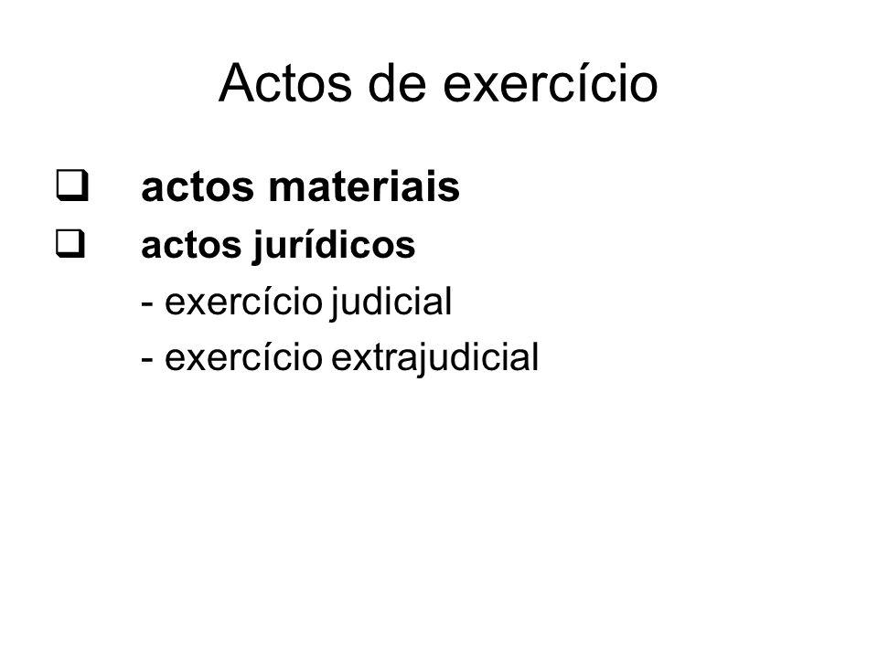 Actos de exercício actos materiais actos jurídicos