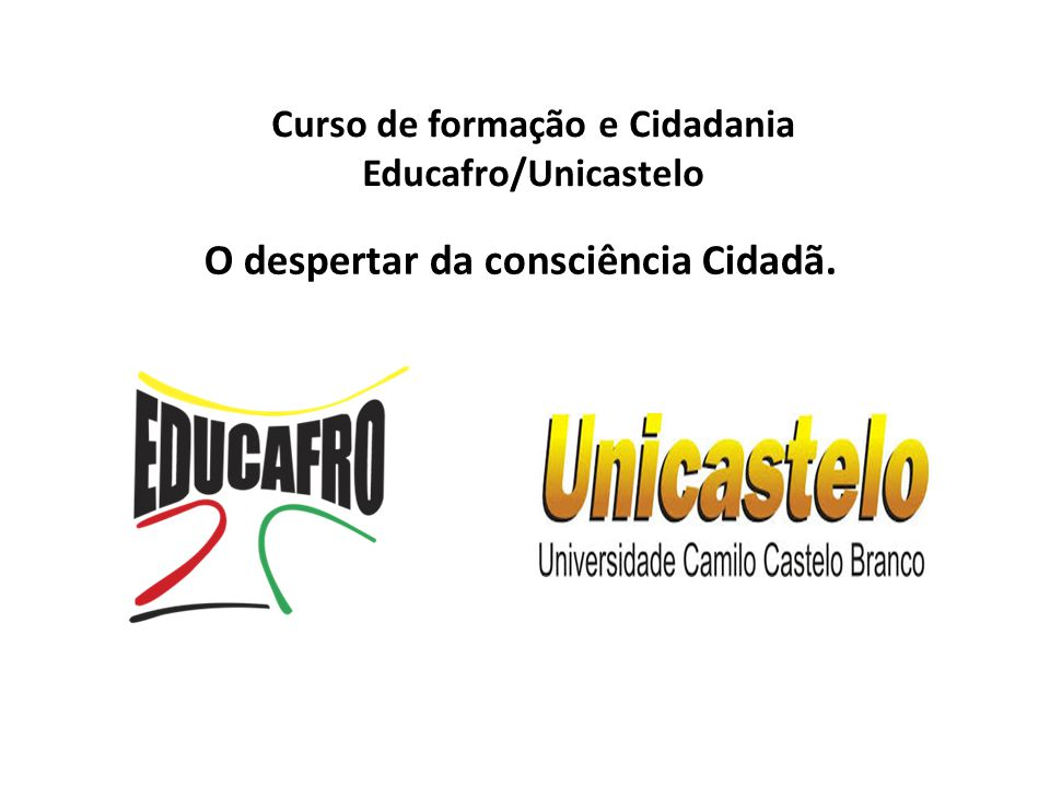 Curso de formação e Cidadania Educafro/Unicastelo
