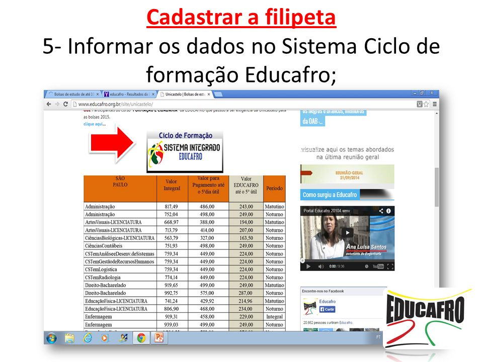 Cadastrar a filipeta 5- Informar os dados no Sistema Ciclo de formação Educafro;
