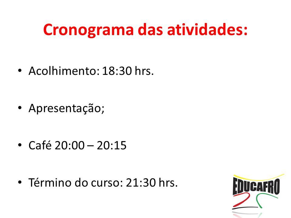 Cronograma das atividades:
