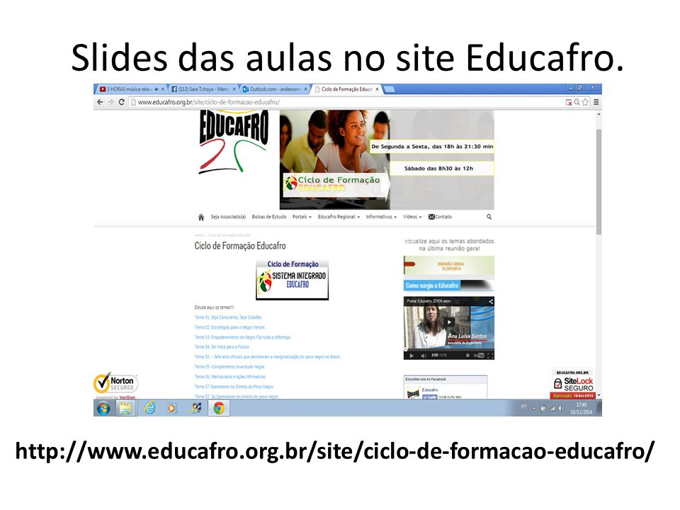 Slides das aulas no site Educafro.