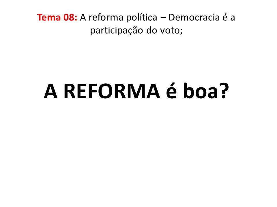 Tema 08: A reforma política – Democracia é a participação do voto;