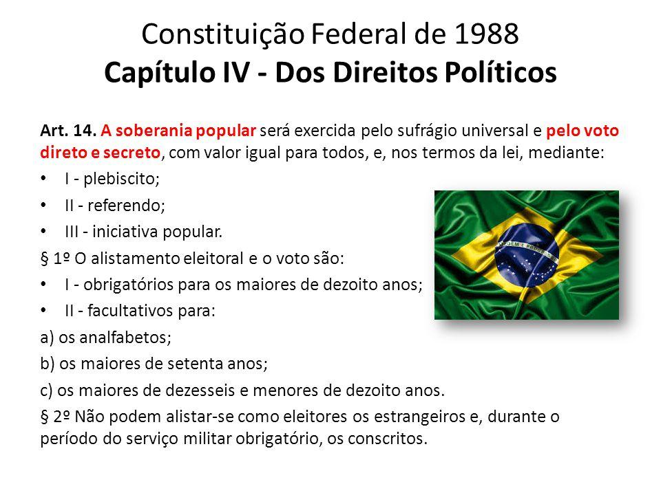 Constituição Federal de 1988 Capítulo IV - Dos Direitos Políticos