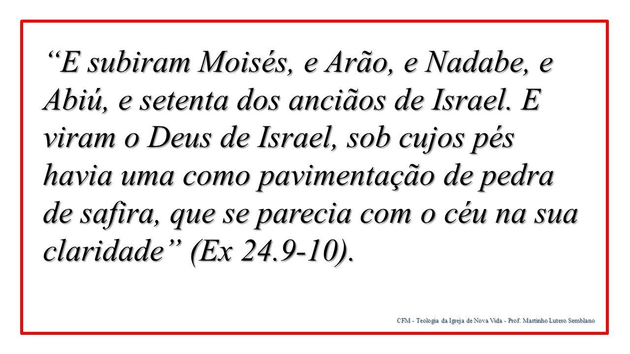 E subiram Moisés, e Arão, e Nadabe, e Abiú, e setenta dos anciãos de Israel. E viram o Deus de Israel, sob cujos pés havia uma como pavimentação de pedra de safira, que se parecia com o céu na sua claridade (Ex 24.9-10).