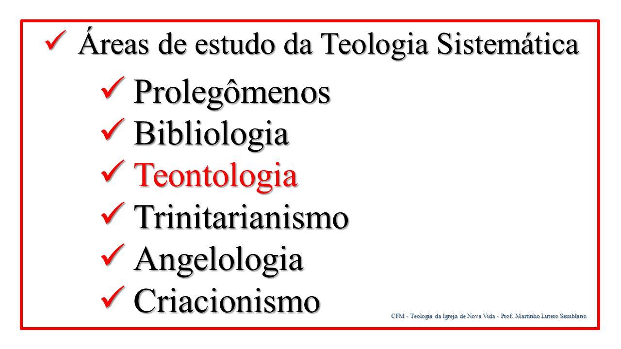 Prolegômenos Bibliologia Teontologia Trinitarianismo Angelologia