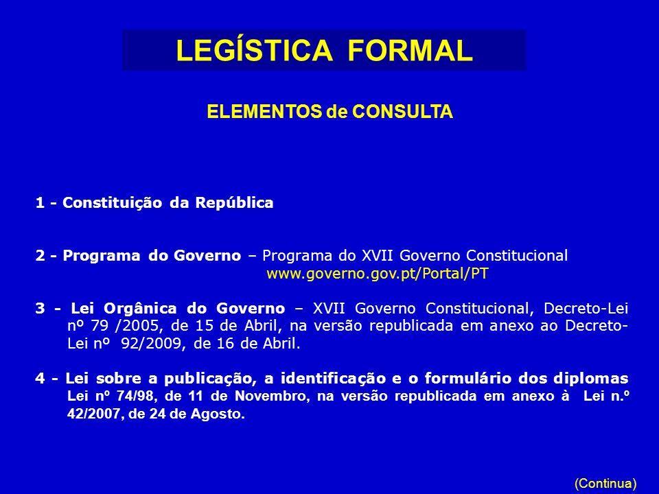 LEGÍSTICA FORMAL ELEMENTOS de CONSULTA 1 - Constituição da República
