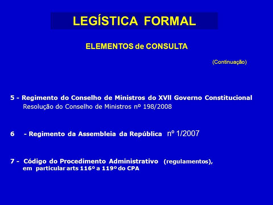 LEGÍSTICA FORMAL ELEMENTOS de CONSULTA