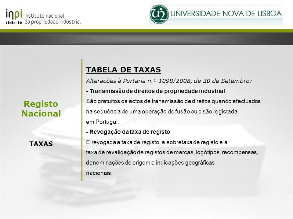 Registo Nacional TABELA DE TAXAS TAXAS