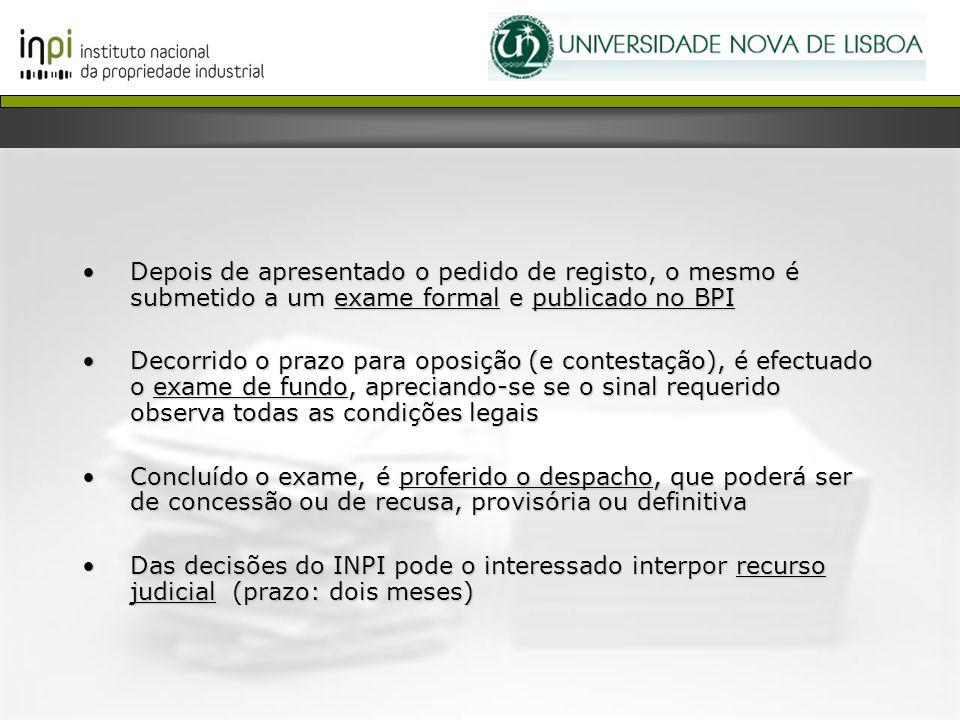 Depois de apresentado o pedido de registo, o mesmo é submetido a um exame formal e publicado no BPI