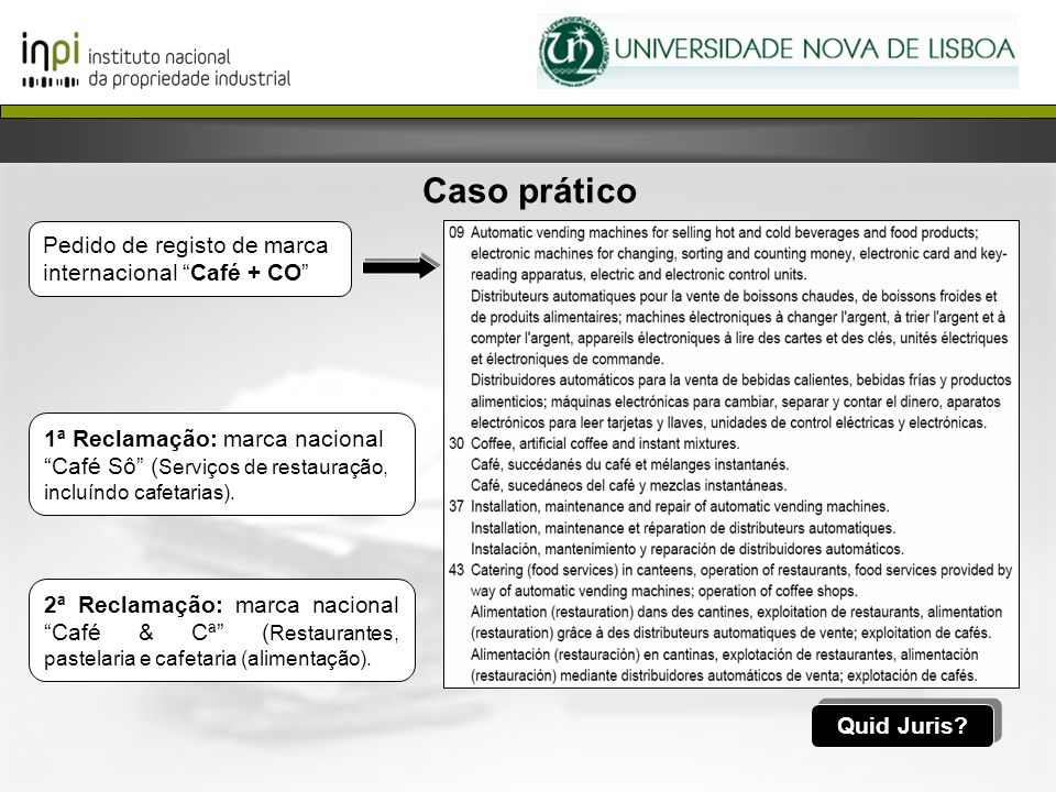 Caso prático Pedido de registo de marca internacional Café + CO